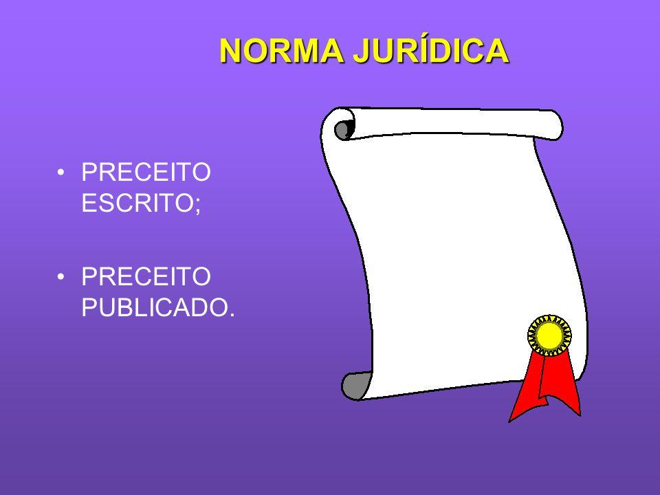 NORMA JURÍDICA PRECEITO ESCRITO; PRECEITO PUBLICADO.