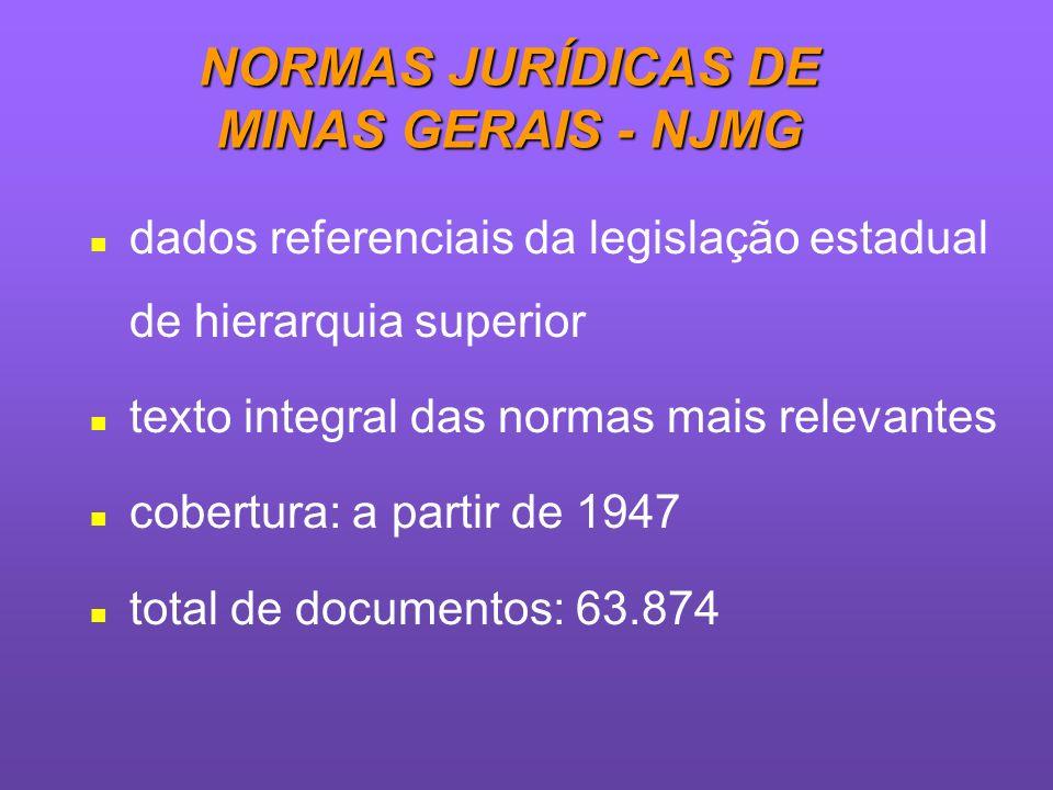 NORMAS JURÍDICAS DE MINAS GERAIS - NJMG