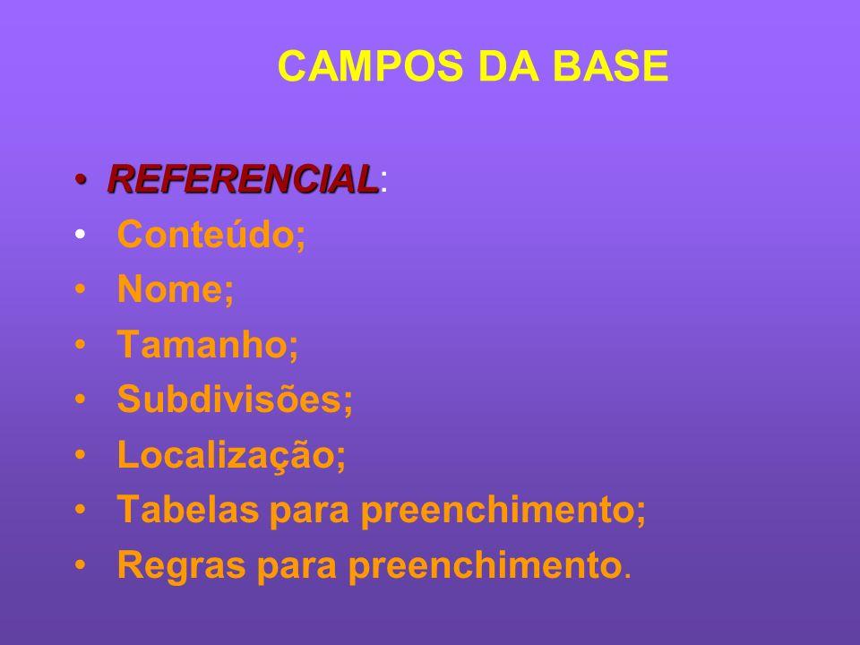 CAMPOS DA BASE REFERENCIAL: Conteúdo; Nome; Tamanho; Subdivisões;