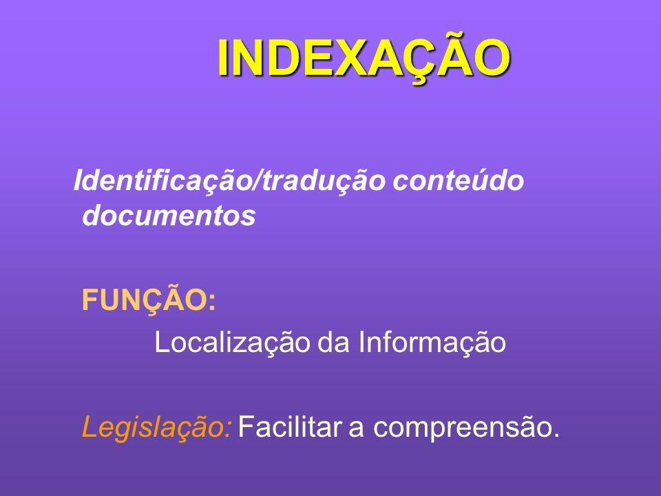 INDEXAÇÃO Identificação/tradução conteúdo documentos FUNÇÃO: