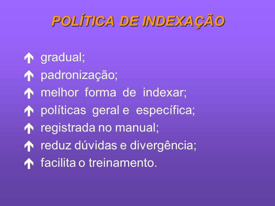 POLÍTICA DE INDEXAÇÃO gradual; padronização; melhor forma de indexar;