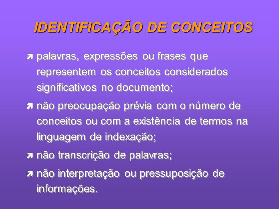 IDENTIFICAÇÃO DE CONCEITOS