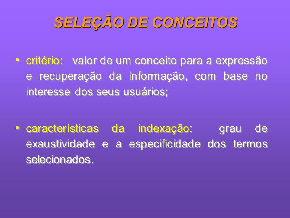 SELEÇÃO DE CONCEITOS critério: valor de um conceito para a expressão e recuperação da informação, com base no interesse dos seus usuários;