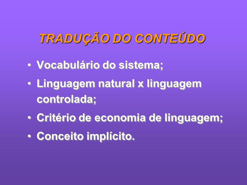 TRADUÇÃO DO CONTEÚDO Vocabulário do sistema;