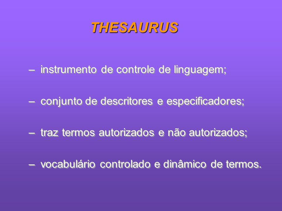 THESAURUS instrumento de controle de linguagem;