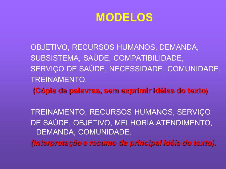 MODELOS OBJETIVO, RECURSOS HUMANOS, DEMANDA,