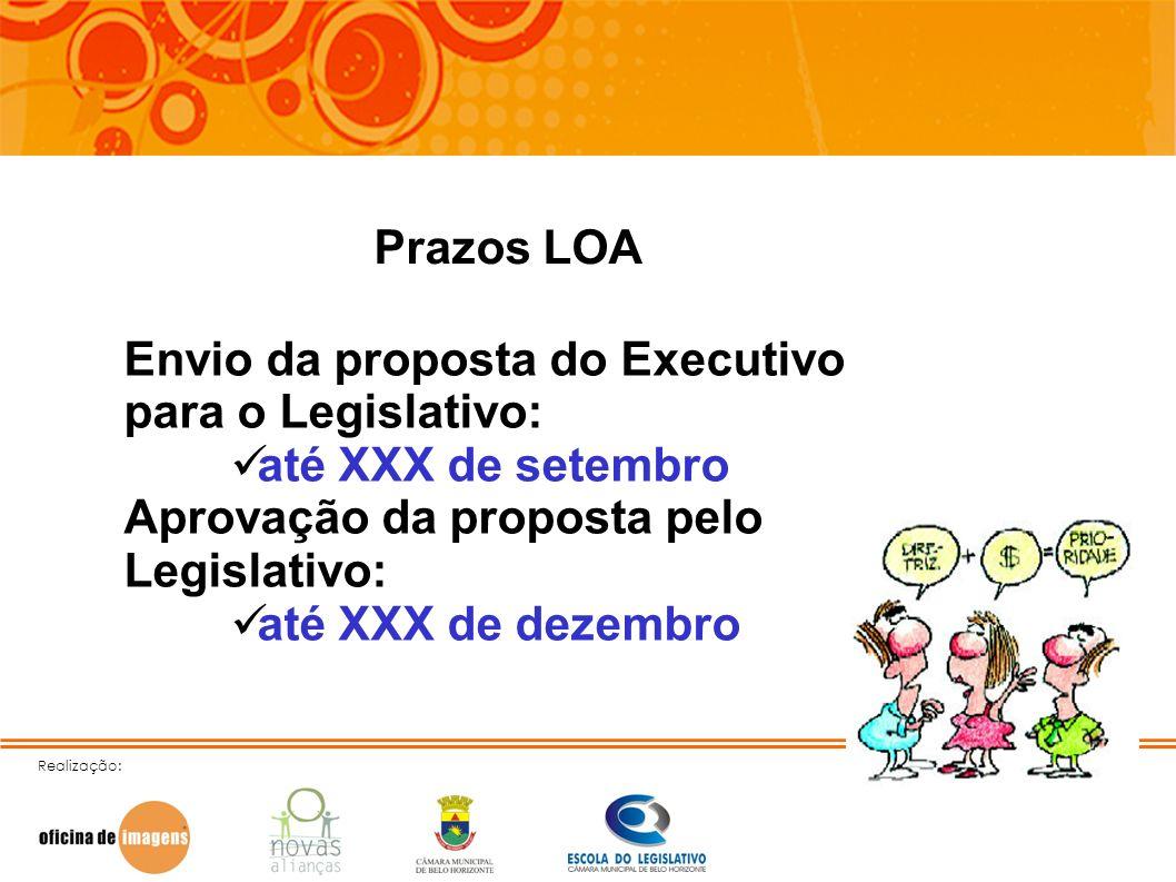 Envio da proposta do Executivo para o Legislativo: até XXX de setembro