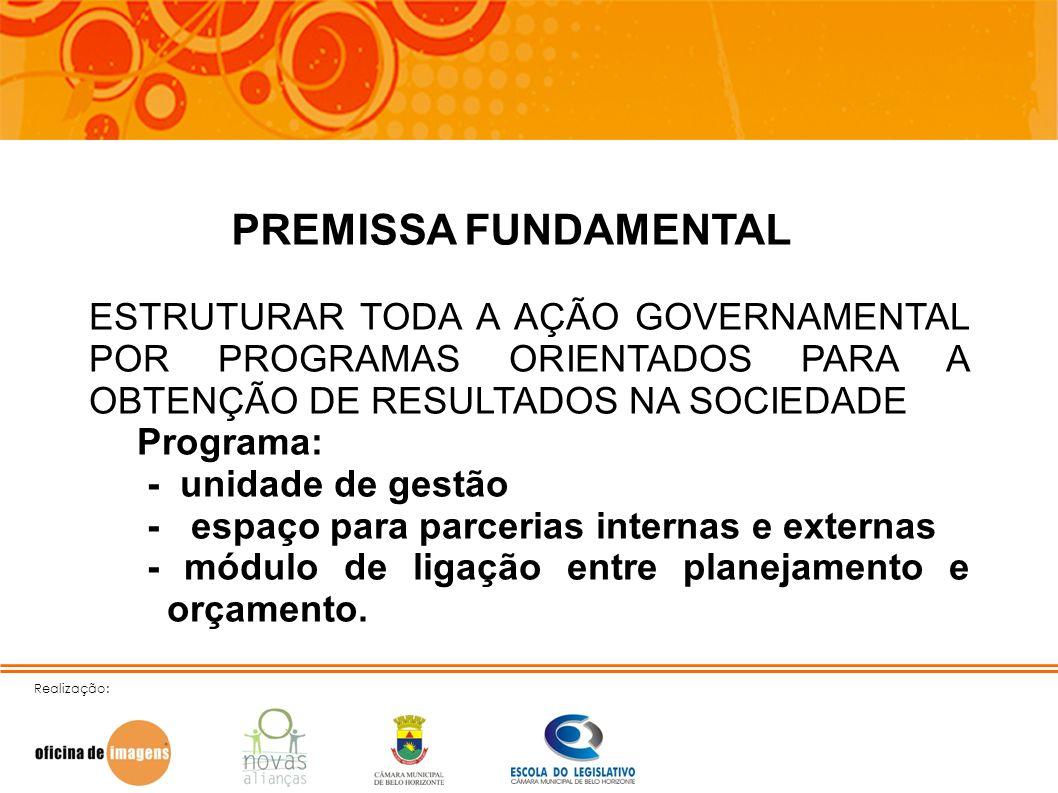 PREMISSA FUNDAMENTAL ESTRUTURAR TODA A AÇÃO GOVERNAMENTAL POR PROGRAMAS ORIENTADOS PARA A OBTENÇÃO DE RESULTADOS NA SOCIEDADE.