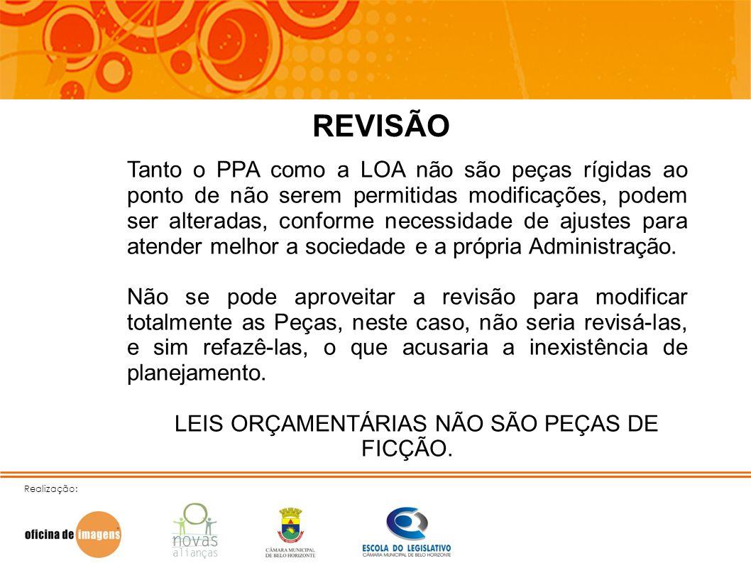 LEIS ORÇAMENTÁRIAS NÃO SÃO PEÇAS DE FICÇÃO.