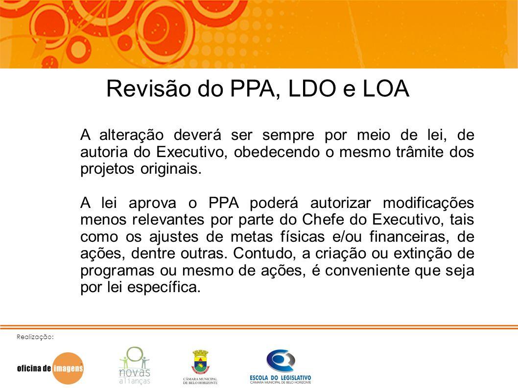 Revisão do PPA, LDO e LOAA alteração deverá ser sempre por meio de lei, de autoria do Executivo, obedecendo o mesmo trâmite dos projetos originais.
