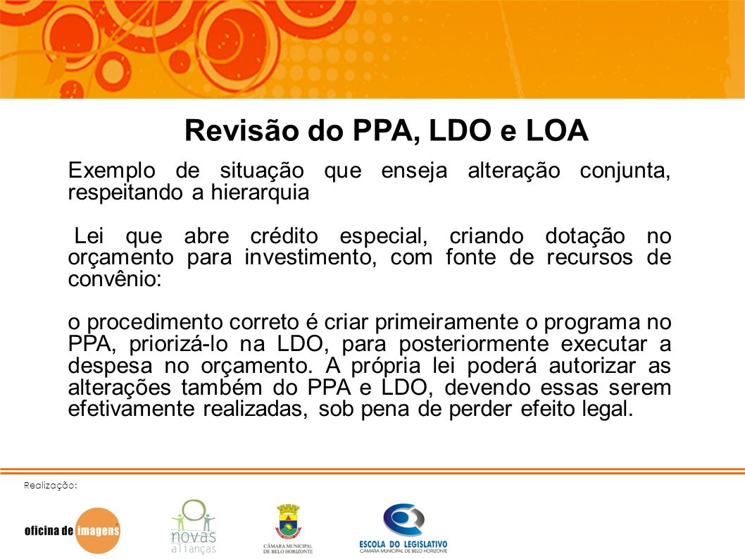 Revisão do PPA, LDO e LOAExemplo de situação que enseja alteração conjunta, respeitando a hierarquia.