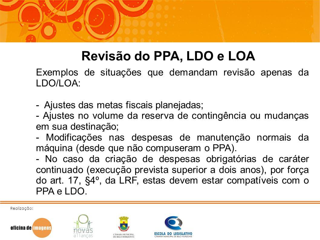 Revisão do PPA, LDO e LOAExemplos de situações que demandam revisão apenas da LDO/LOA: - Ajustes das metas fiscais planejadas;