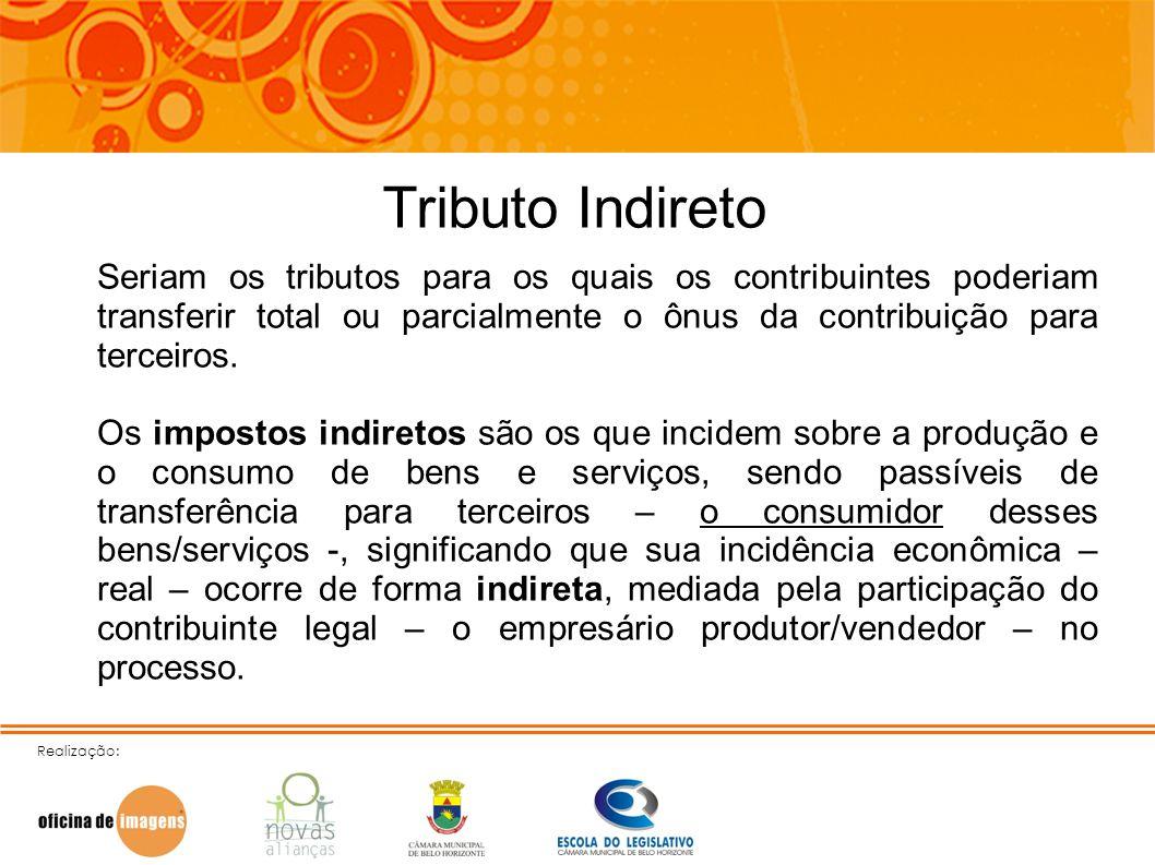 Tributo IndiretoSeriam os tributos para os quais os contribuintes poderiam transferir total ou parcialmente o ônus da contribuição para terceiros.