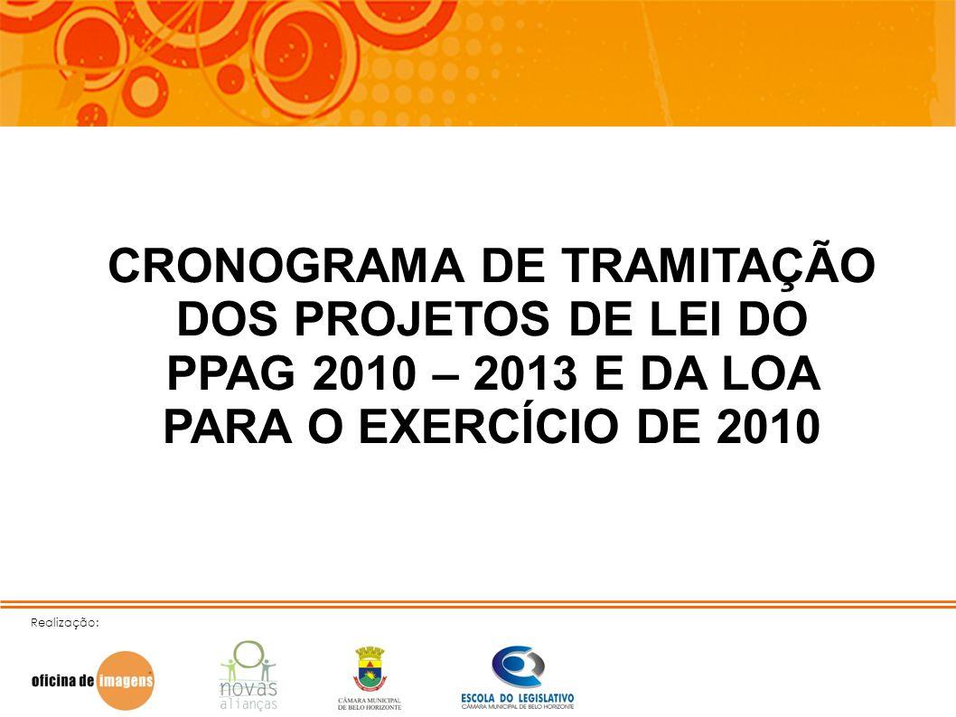 CRONOGRAMA DE TRAMITAÇÃO DOS PROJETOS DE LEI DO PPAG 2010 – 2013 E DA LOA PARA O EXERCÍCIO DE 2010