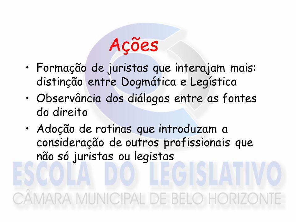 Ações Formação de juristas que interajam mais: distinção entre Dogmática e Legística. Observância dos diálogos entre as fontes do direito.