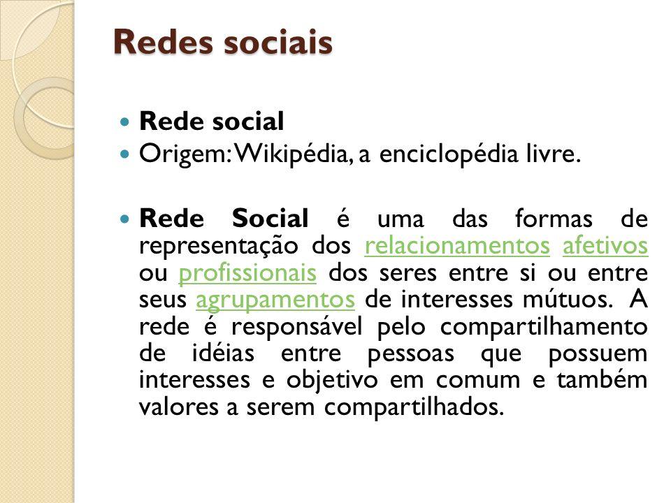 Redes sociais Rede social Origem: Wikipédia, a enciclopédia livre.