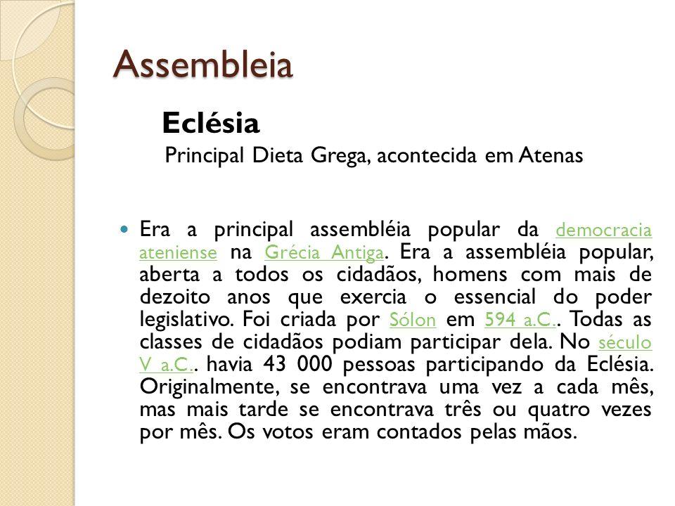 Assembleia Eclésia Principal Dieta Grega, acontecida em Atenas