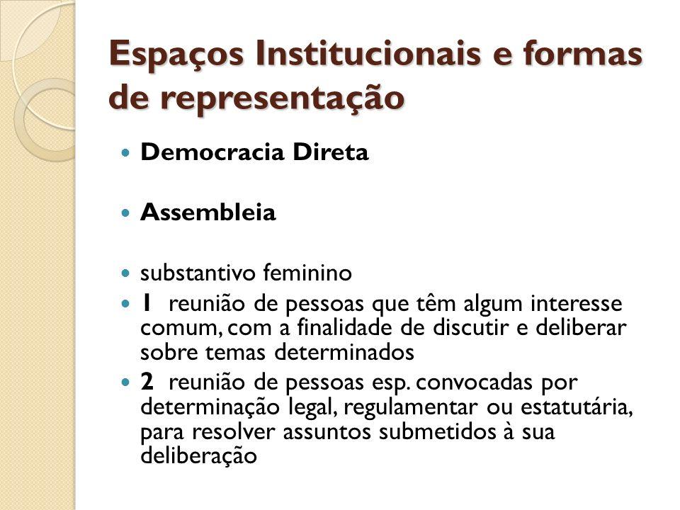 Espaços Institucionais e formas de representação