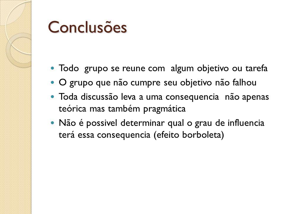 Conclusões Todo grupo se reune com algum objetivo ou tarefa
