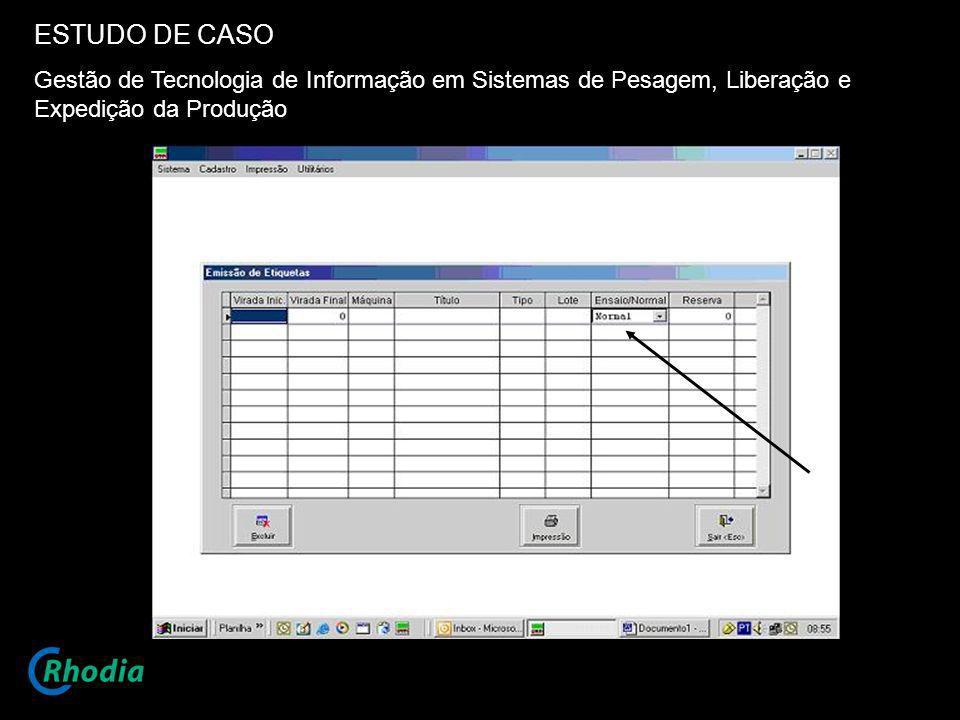 ESTUDO DE CASO Gestão de Tecnologia de Informação em Sistemas de Pesagem, Liberação e Expedição da Produção.