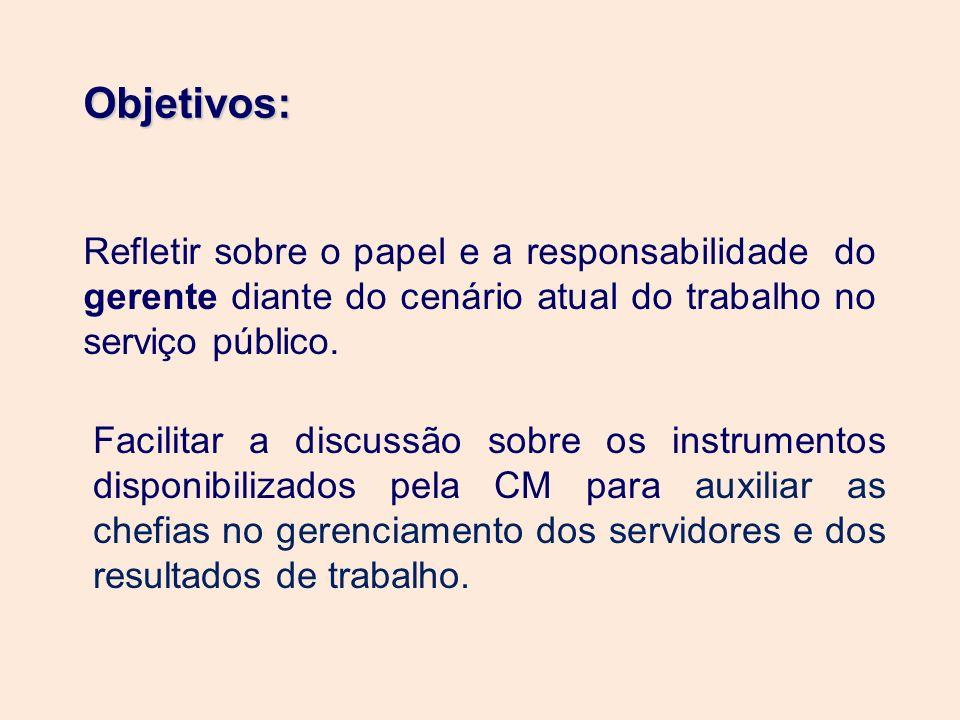 Objetivos:Refletir sobre o papel e a responsabilidade do gerente diante do cenário atual do trabalho no serviço público.
