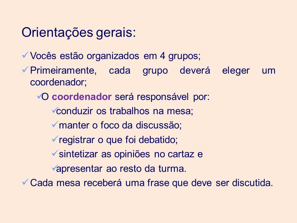 Orientações gerais: Vocês estão organizados em 4 grupos;