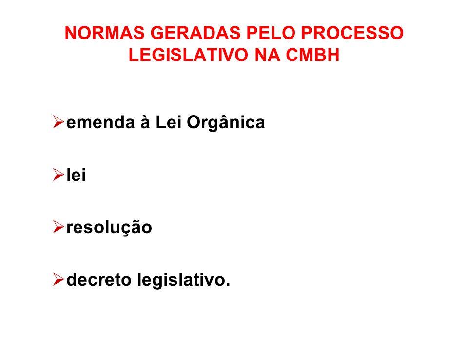 NORMAS GERADAS PELO PROCESSO LEGISLATIVO NA CMBH