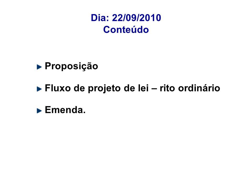 Dia: 22/09/2010 Conteúdo Proposição Fluxo de projeto de lei – rito ordinário Emenda.