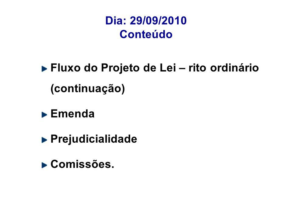 Dia: 29/09/2010 ConteúdoFluxo do Projeto de Lei – rito ordinário (continuação) Emenda. Prejudicialidade.