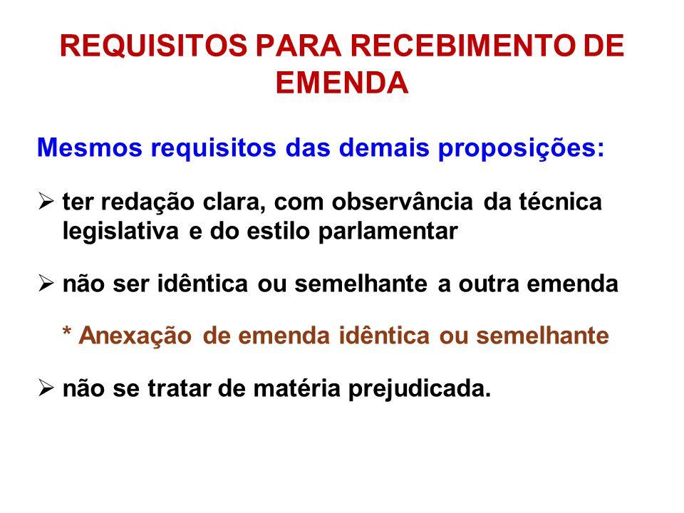 REQUISITOS PARA RECEBIMENTO DE EMENDA