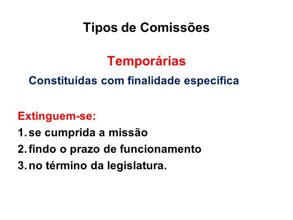 Tipos de Comissões Temporárias