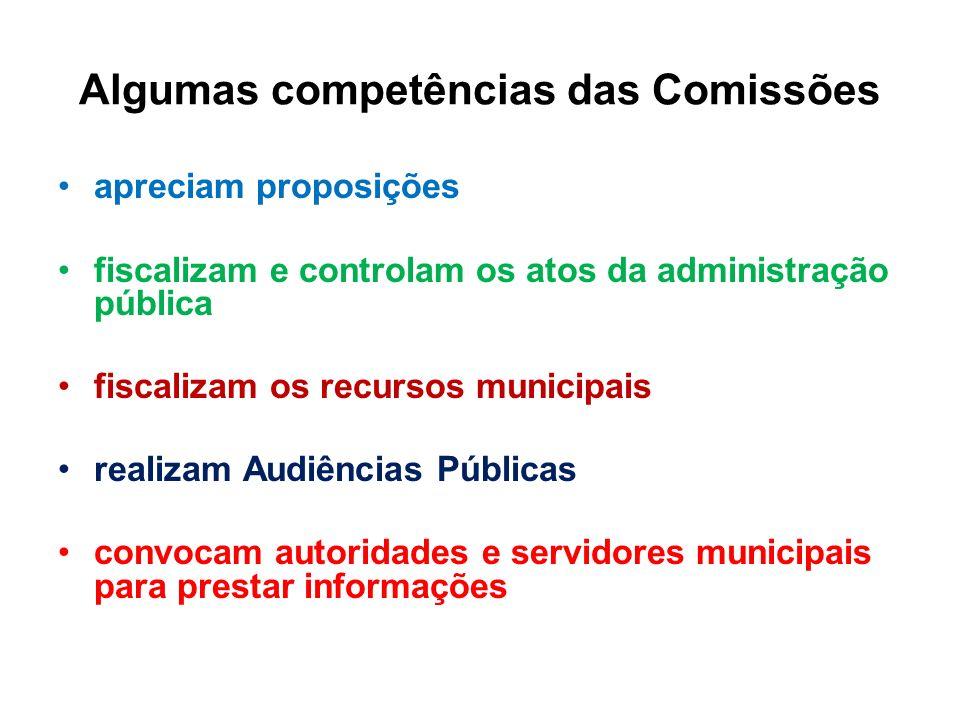 Algumas competências das Comissões