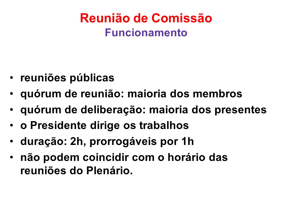 Reunião de Comissão Funcionamento