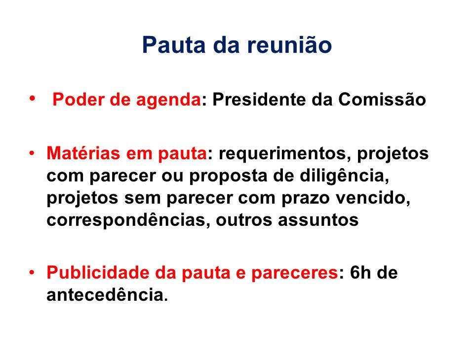 Pauta da reunião Poder de agenda: Presidente da Comissão