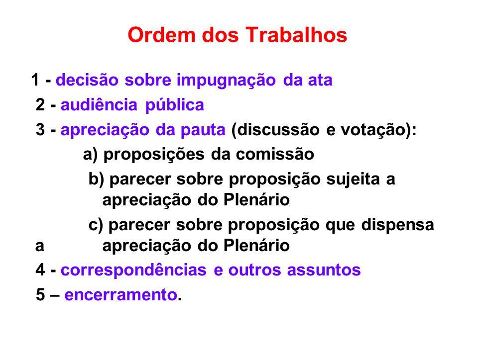 Ordem dos Trabalhos 1 - decisão sobre impugnação da ata