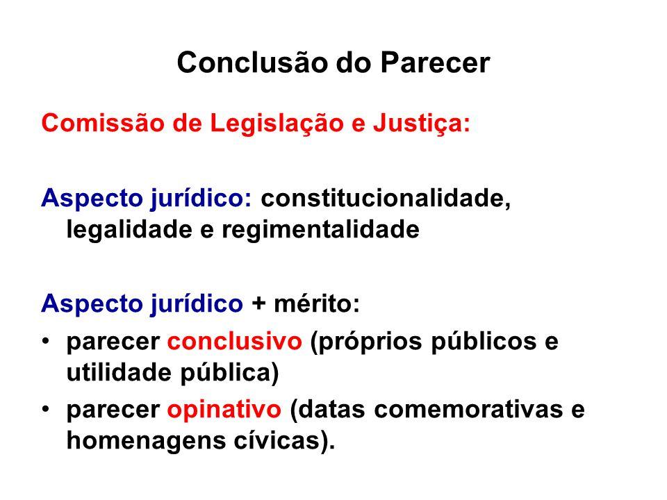 Conclusão do Parecer Comissão de Legislação e Justiça: