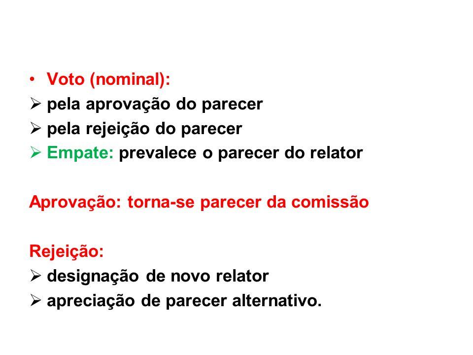 Voto (nominal):pela aprovação do parecer. pela rejeição do parecer. Empate: prevalece o parecer do relator.