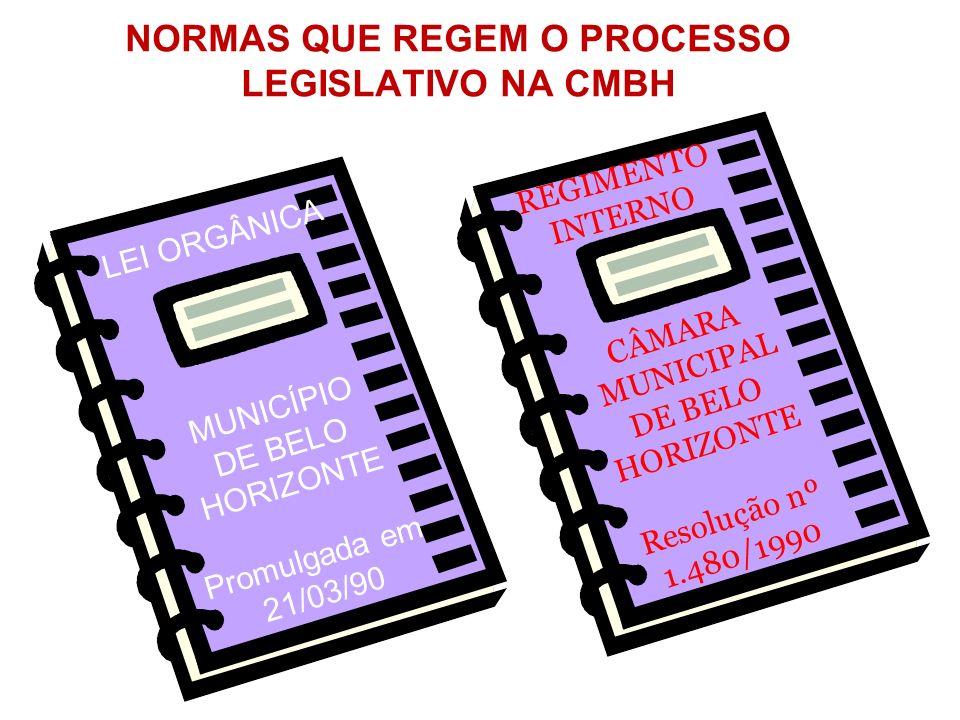 NORMAS QUE REGEM O PROCESSO LEGISLATIVO NA CMBH