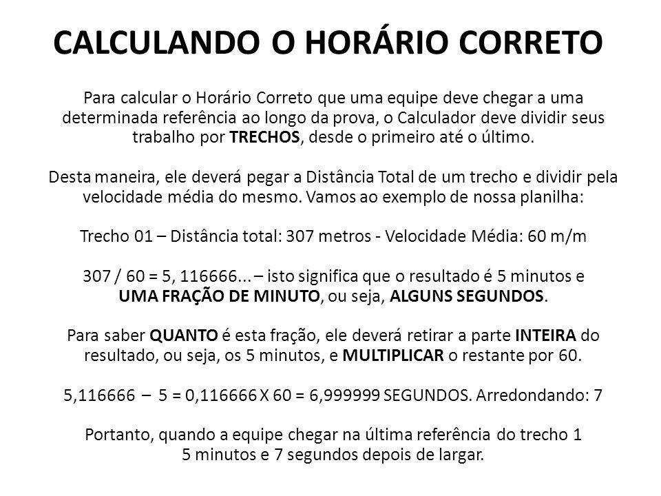 CALCULANDO O HORÁRIO CORRETO