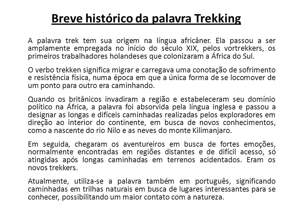 Breve histórico da palavra Trekking