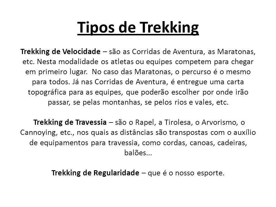 Tipos de Trekking Trekking de Velocidade – são as Corridas de Aventura, as Maratonas, etc.