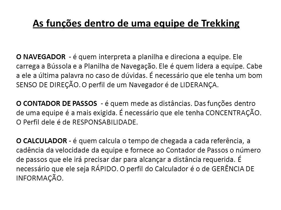 As funções dentro de uma equipe de Trekking O NAVEGADOR - é quem interpreta a planilha e direciona a equipe.