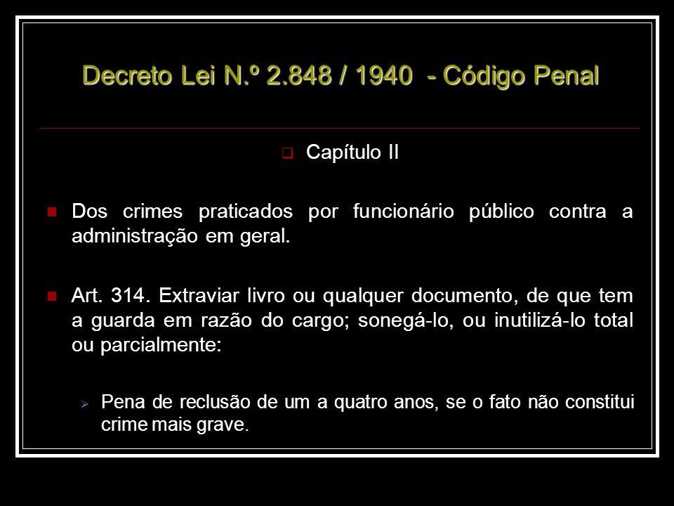 Decreto Lei N.º 2.848 / 1940 - Código Penal