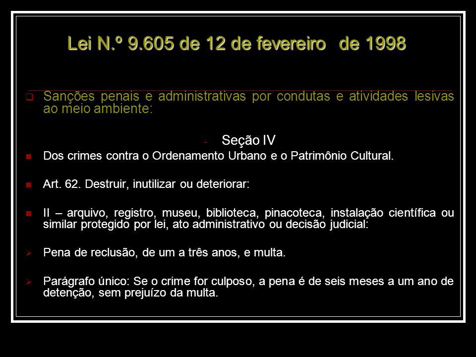 Lei N.º 9.605 de 12 de fevereiro de 1998