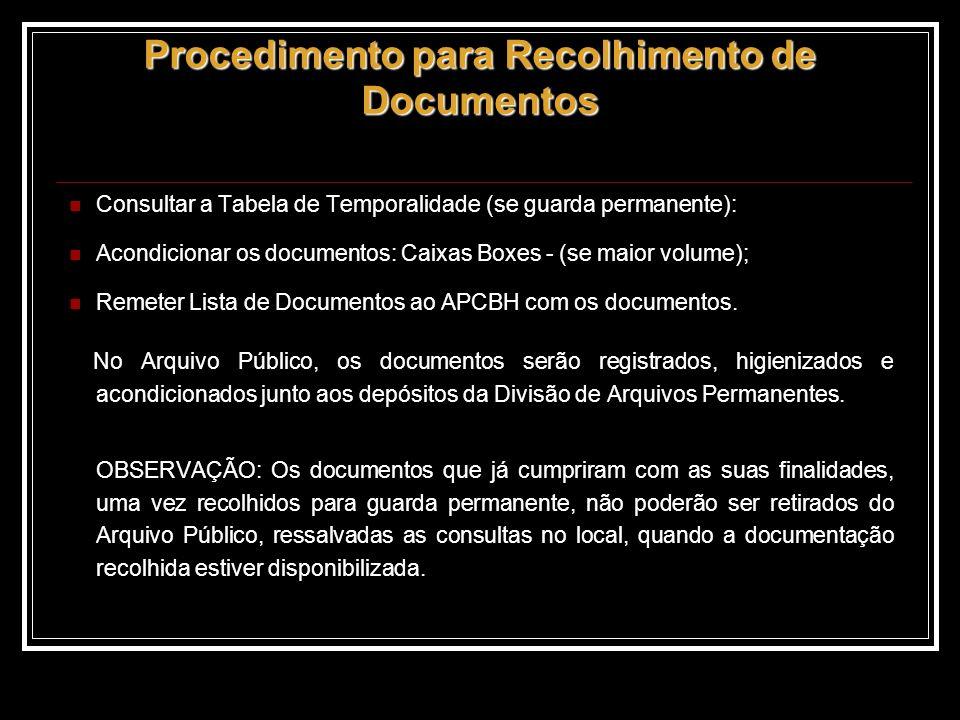 Procedimento para Recolhimento de Documentos