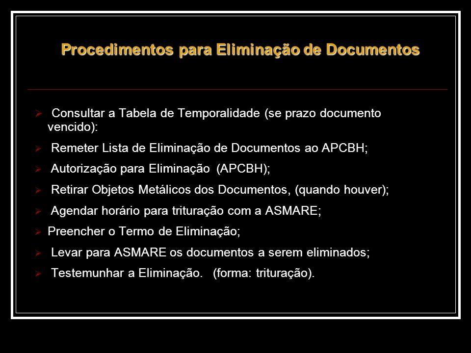 Procedimentos para Eliminação de Documentos