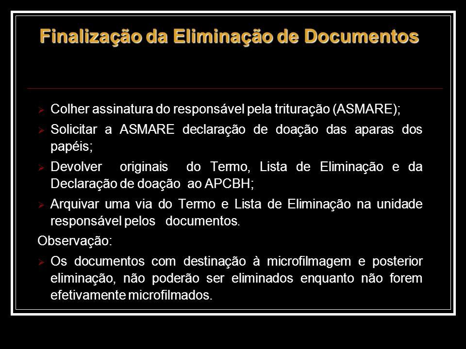 Finalização da Eliminação de Documentos