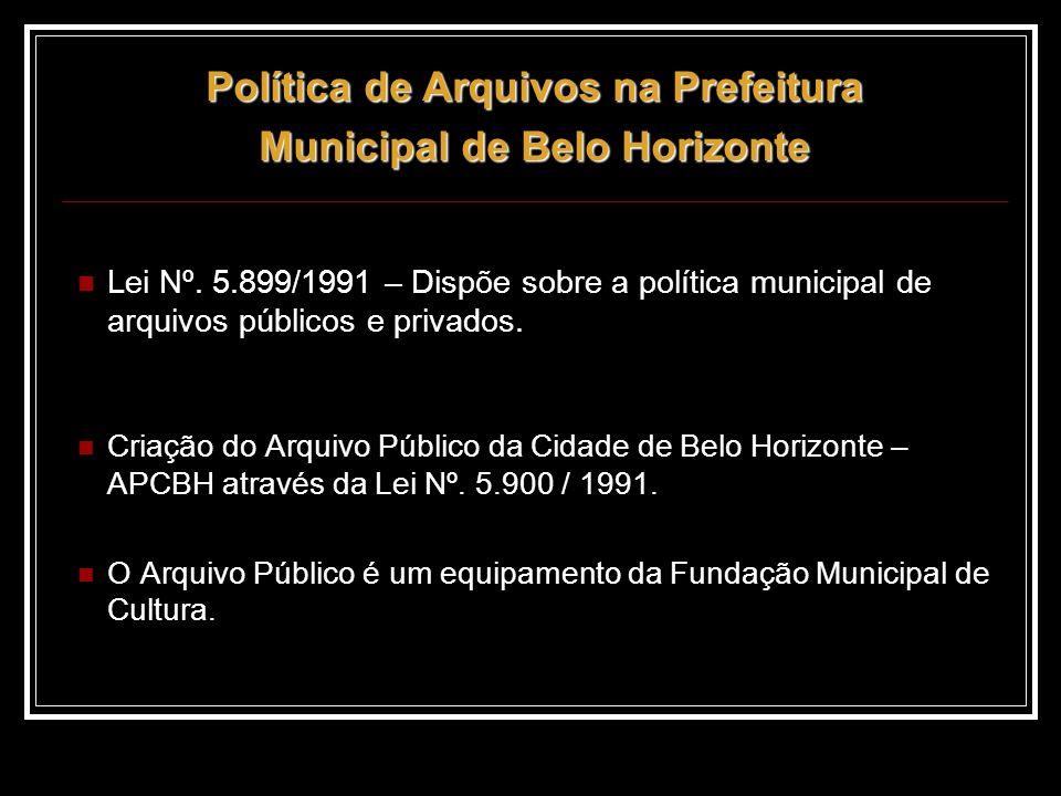 Política de Arquivos na Prefeitura Municipal de Belo Horizonte