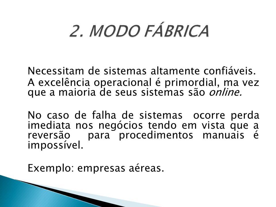 2. MODO FÁBRICA Necessitam de sistemas altamente confiáveis.