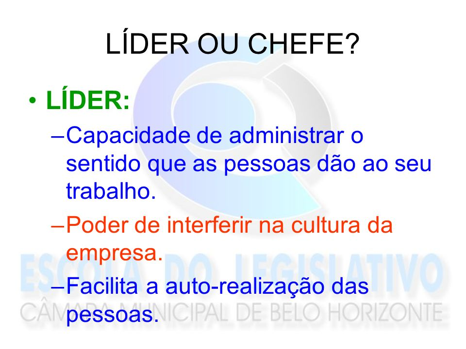 LÍDER OU CHEFE LÍDER: Capacidade de administrar o sentido que as pessoas dão ao seu trabalho. Poder de interferir na cultura da empresa.
